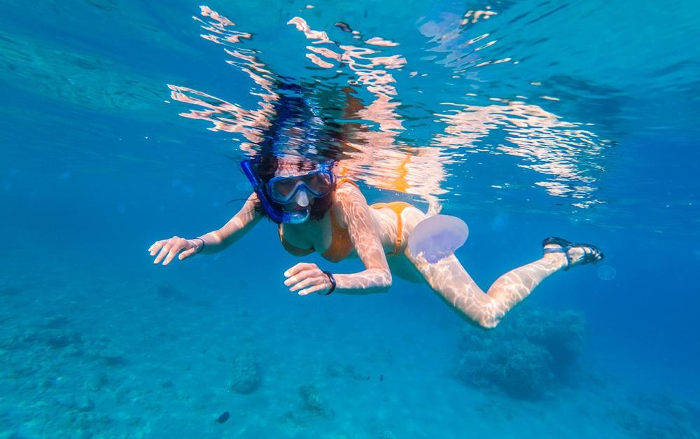 Mulher nadando com uma água-viva, mas não corre risco pois usa Safe Sea